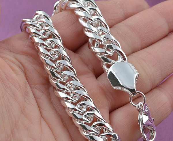 LJ & OMR Promotion 100% authentique 925 en argent Sterling femmes chaîne Bracelet en gros de mode hommes bijoux en argent hommes Bracelet