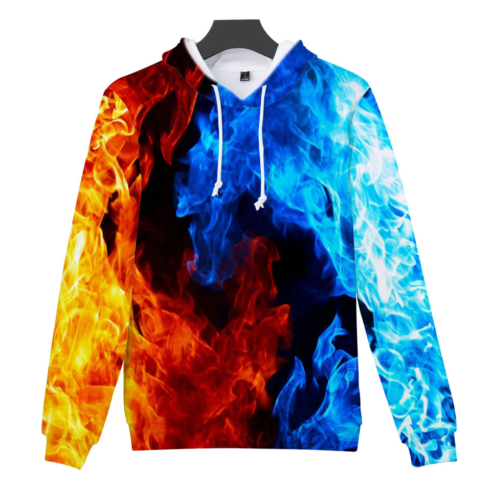 Frdun Tommy 3D Print Blue Flames And Red Flames Cool Print Hoodies Sweatshirts Fashion Women Hoodie Pullover Sweatshirt Clothes