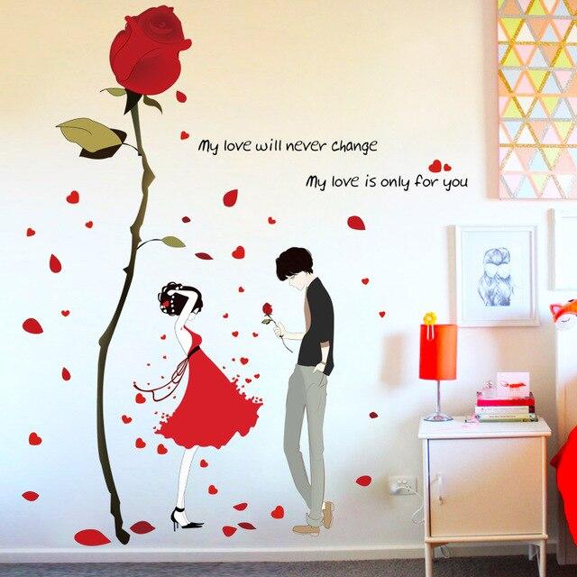 Fundecor] roten kleid mädchen rose wandaufkleber für hochzeit ...