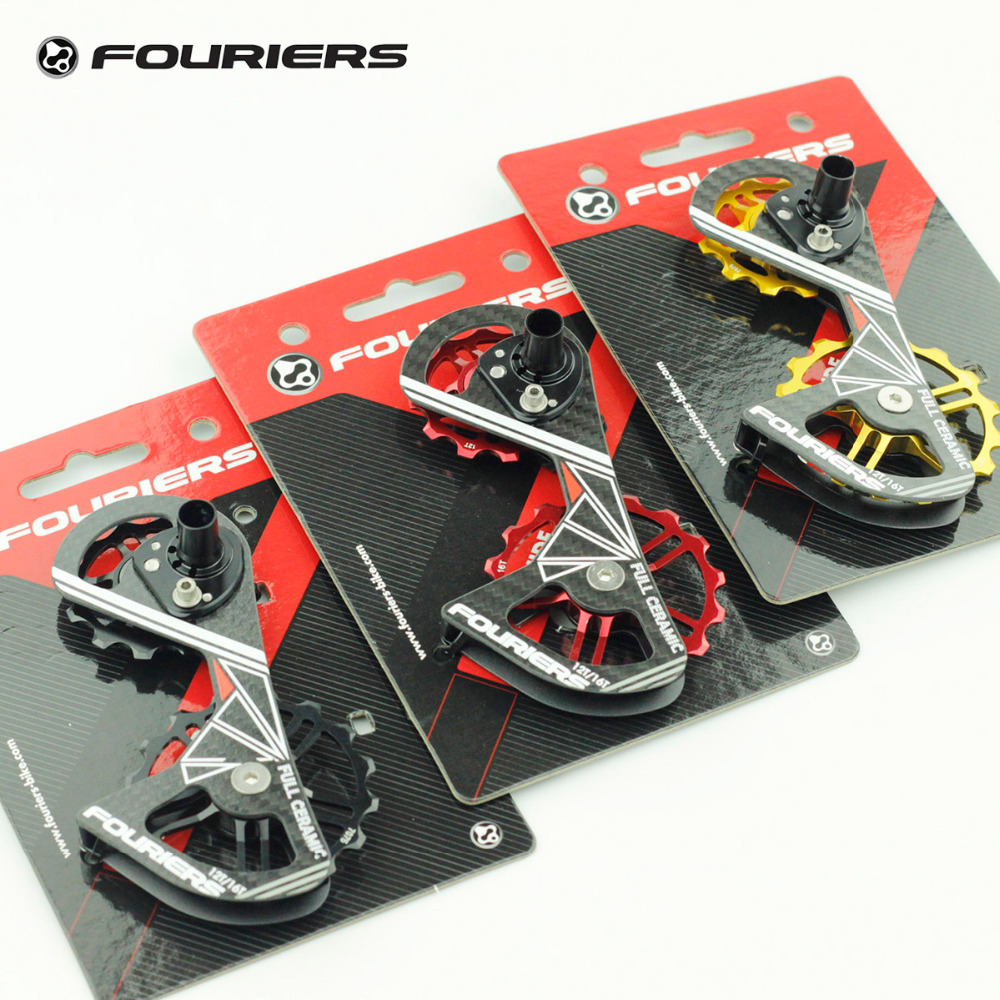 Fouriers Road Bike Rear Derailleur Carbon Cage Full Ceramic bearing Pulley 12T 16T Drivetrain For RD 9000 9070 6800 6870 Jockey ztto 11t mtb bicycle rear derailleur jockey wheel ceramic bearing pulley al7075 cnc road bike guide roller idler 4mm 5mm 6mm