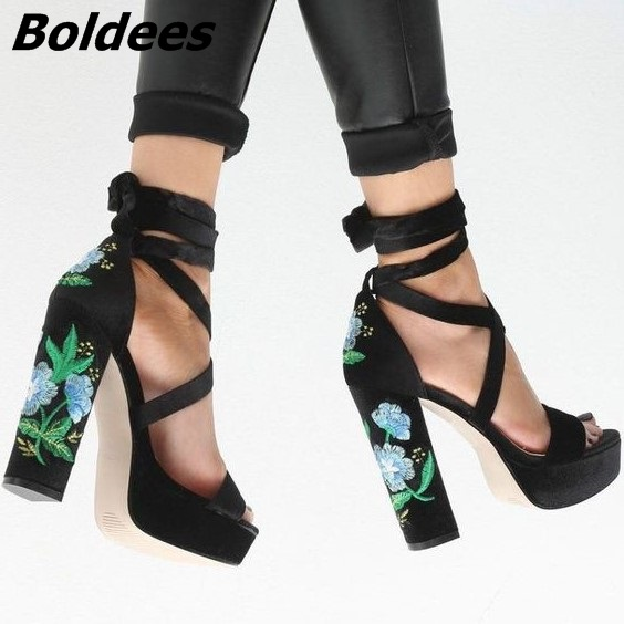 8c70baa4f37 ... Lace Suede Heel Embroidered Peep Chunky Sandals Women Floral Elegant Block  Up Heel Toe Sell Hot ...