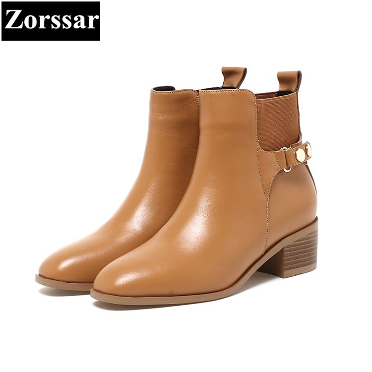 {Zorssar} 2017 NEW fashion Retro style Women Chelsea Boots pointed Toe leisure low heel ankle boots winter female shoes krazing pot new arrival pointed toe thick heel fashion chelsea boots runway winter shoes classic women rivets ankle boots l33
