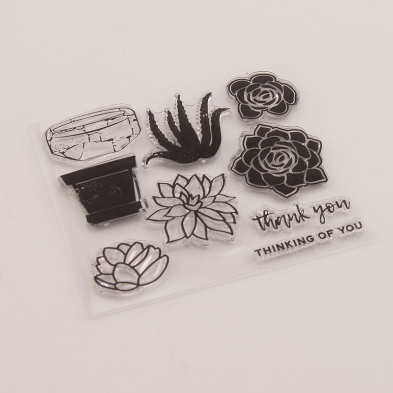 Rose Flower Thinking of You Clear Stamps for Scrapbooking DIY Silicone Seals Photo Album Embossing Folder Paper Maker Template in Stamps from Home Garden