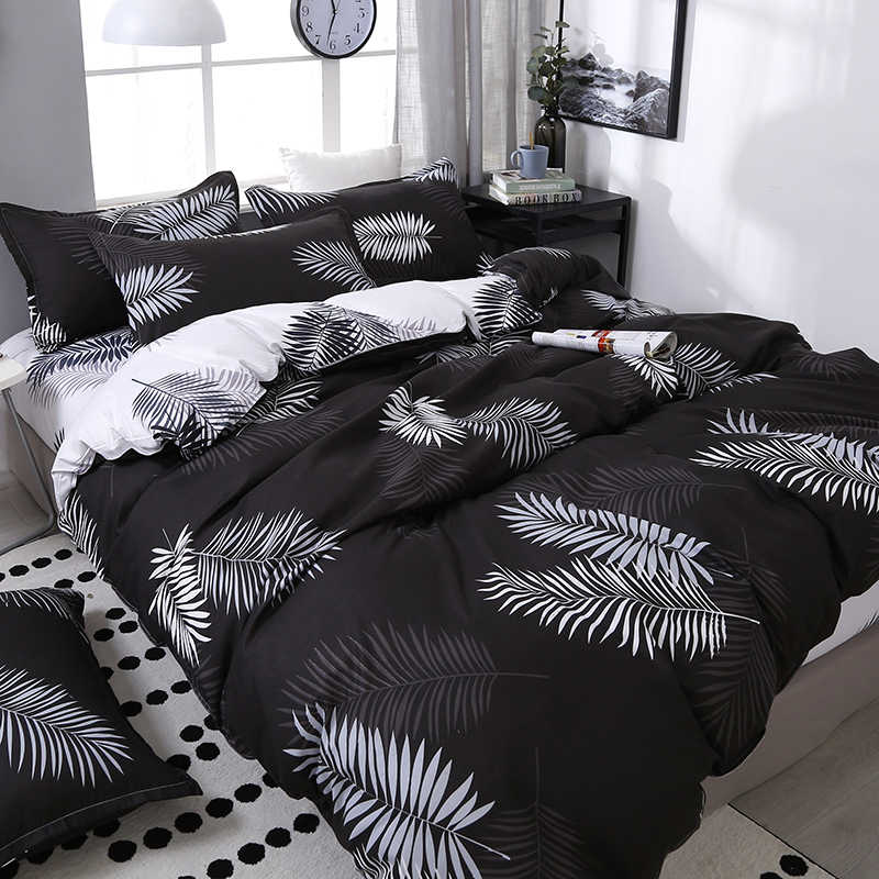 4pcs/set Black Leaf Printing Bedding Set Bed Linings Include Duvet Cover &Sheets&Pillowcases Cover Comfortable Home Bed Set