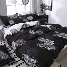 4pcs/set Black Leaf Printing Bedding Set Bed Linings Include Duvet Cover &Sheets&Pillowcases Cover Comfortable Home Bed Set(China)