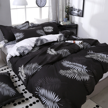 Black Leaf Printing Bedding Set Bed Linings Bedding Sets