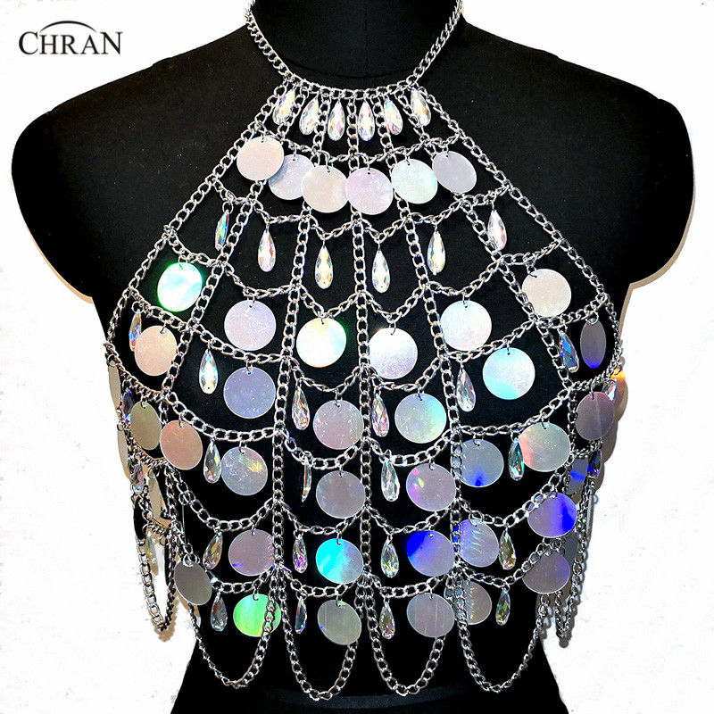 Chran Holographic Discs Sequins Crop Top Belly Waist Belt Mirror Chain Necklace Rave Bra Bralete Festival Wear Jewelry CRS413