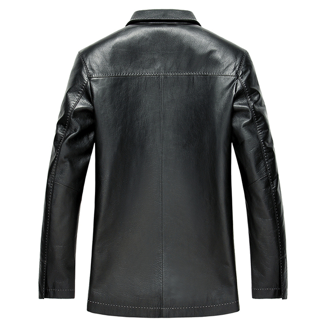 YOLANFAIRY Geniune Leather Jacket For Men trench coat men Spring Autumn Plus Size Jackets Jaqueta de couro MF144 1