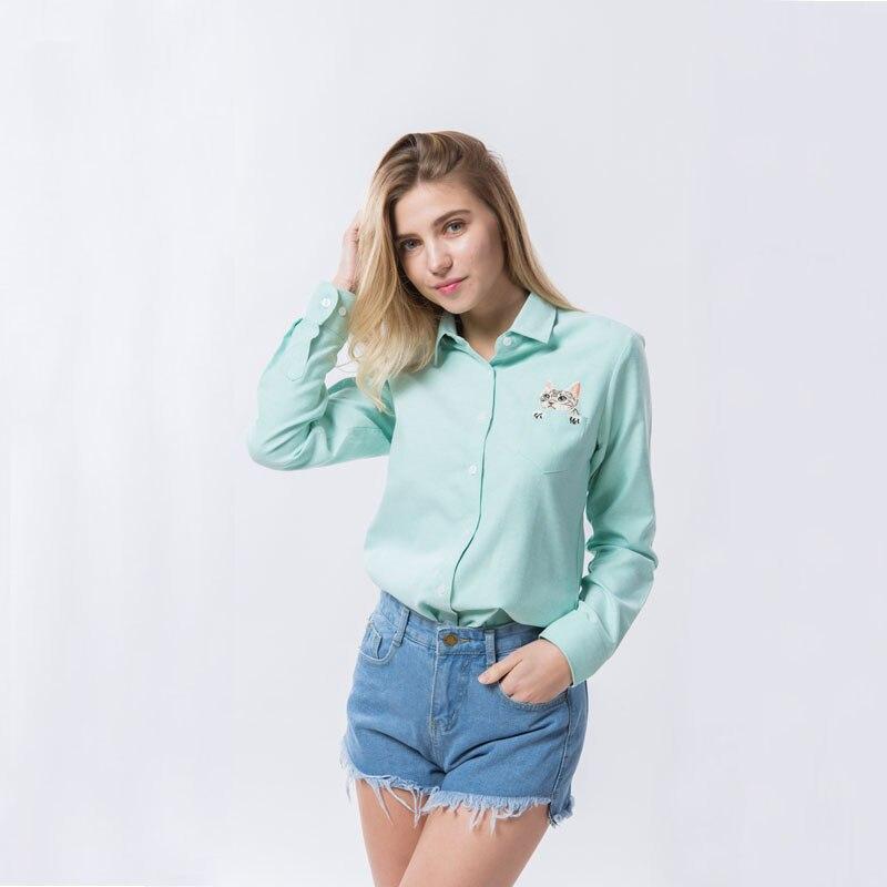 Bordado Gato En Bolsillo de La Camisa Blusa de Las Mujeres de Algodón Azul Blanc