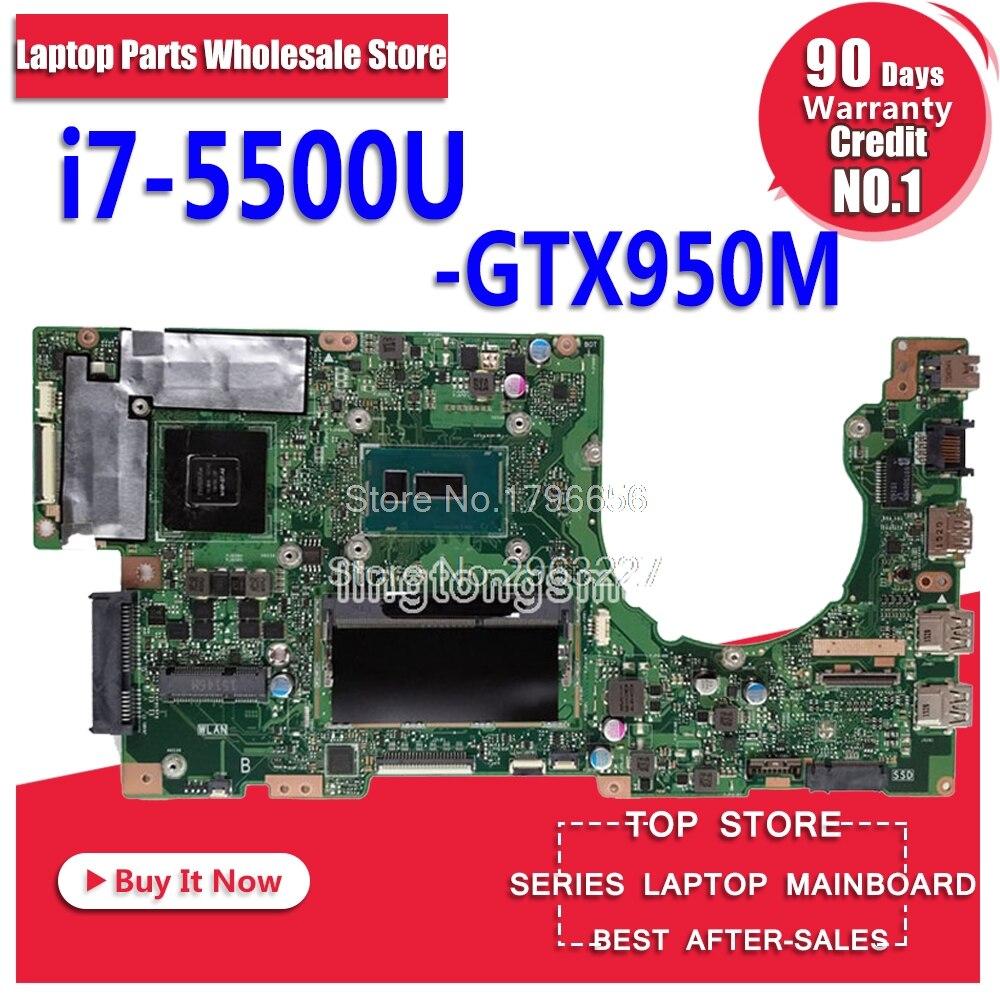 K501LX for ASUS K501LN K501LB A501L K501L V505L mainboard I7-5500U 4G RAM GTX950 video card motherboard Test work 100% OK цена и фото