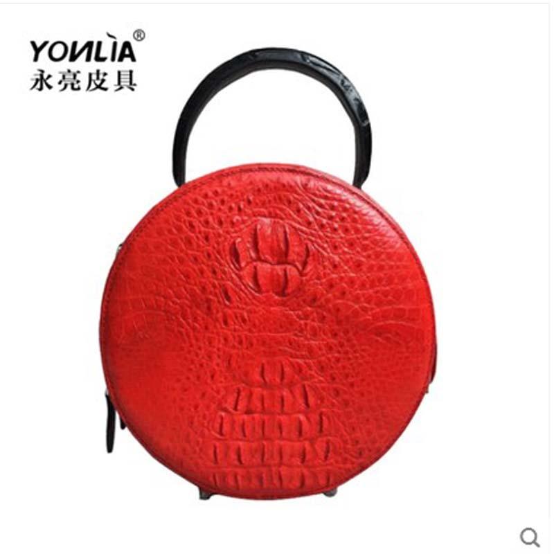 yongliang crocodile  Leather lady crocodile skull women handbag small round single shoulder women bag, large capacity bag