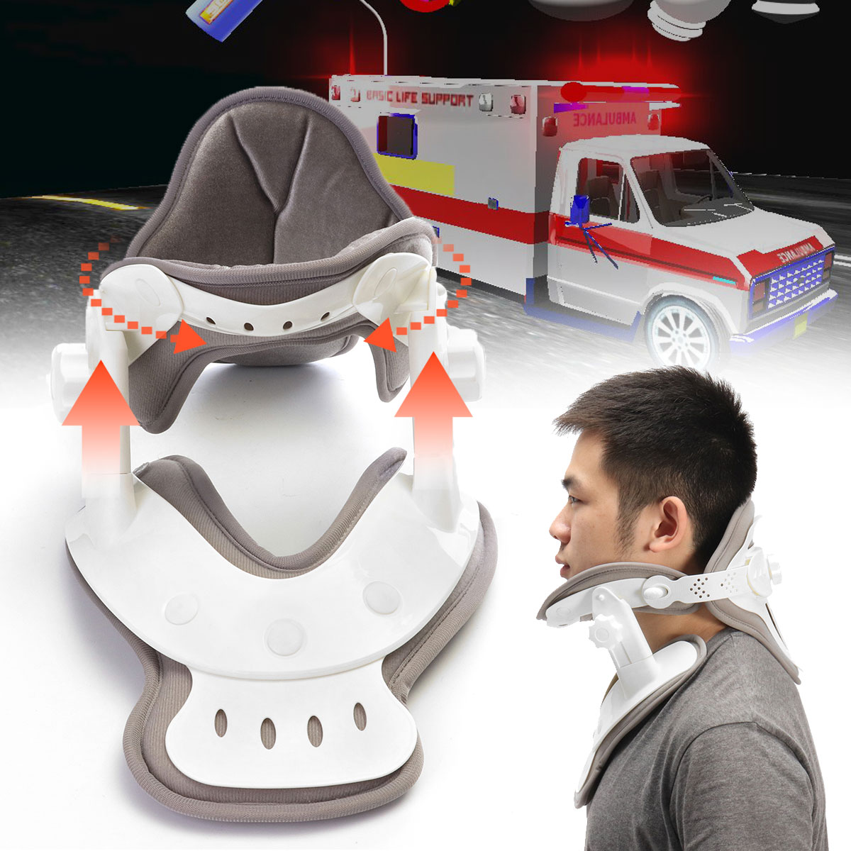 Household Hanging Neck Traction Device Stretched Cervical Traction Inflatable Spondylosis Orthopedic Neck Collar Stretch Machine hanriver cervical traction apparatus home stretch the neck fixed head neck collar correction neck inflatable lumbar spine