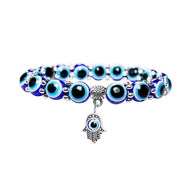 Bangles Bright Angelady 1pc Women Bangles Blue Evil Eye Beads Stretch Bracelets Fatima Hand Pendant Hamas Fashion Jewelry Mild And Mellow
