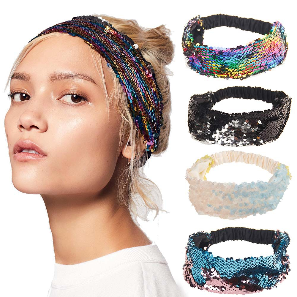 Women Rainbow Reversible Sequins Headband For Dance Party Lady Shiny Glitter Hairband Elastic Turban   Headwear   Hair Accessories