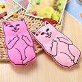 Caucho de silicona suave bolsillo cat case para iphone 6 6 s 6 plus 6 + 5 5S sí animales de dibujos animados candy color teléfono móvil contraportada capa cubierta