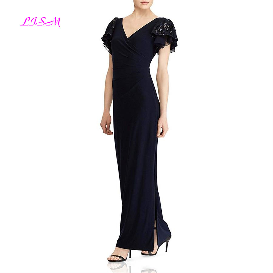 V Neck Short Sleeves Long Mother of Bride Dress Sleeve Elegant Bodice Side Split Women Formal Evening Gowns Wedding Party Dress