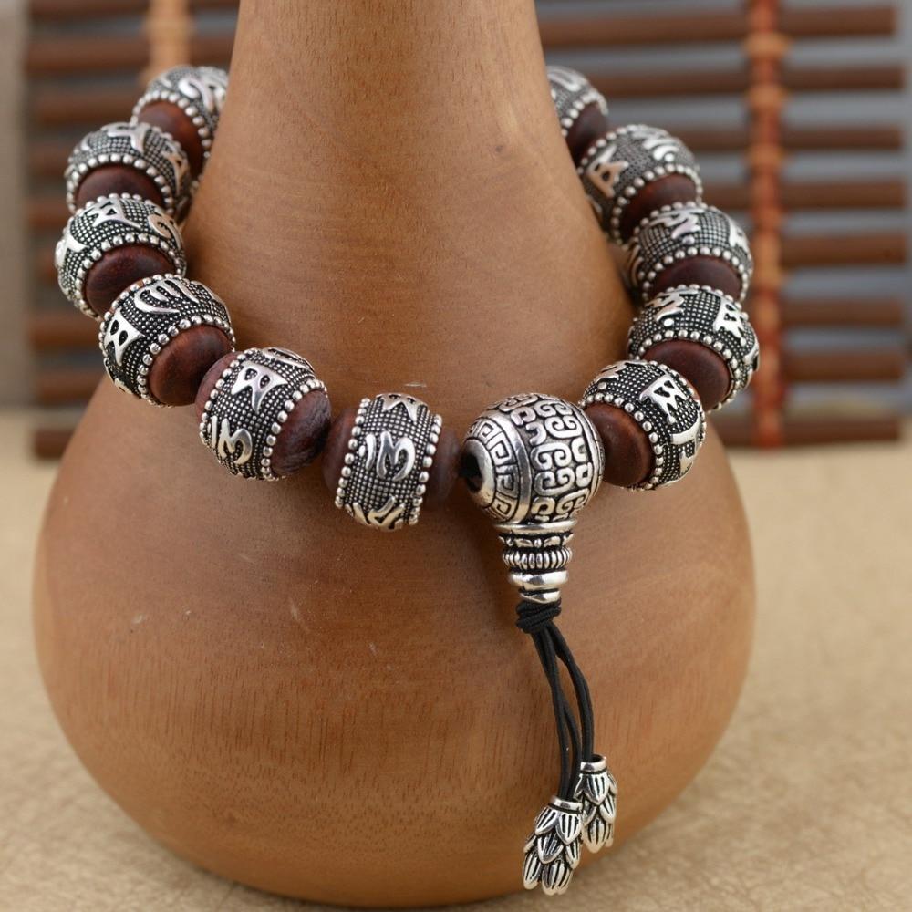 925 Sterling Silver Buddha Mantra Beads Bracelet For Men Women Tibetan Om Mani Padme Hum Bracelet Lobular Red Sandalwood Inlaid