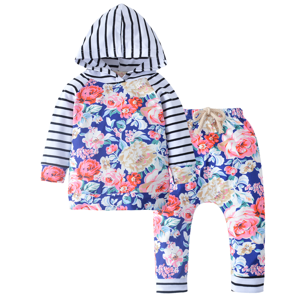 Baby Girls Clothing Set Hooded Sweatshirt Tops Long Sleeve Tops+Floral Pants newborn infant 2pcs suit baby boys girls clothing