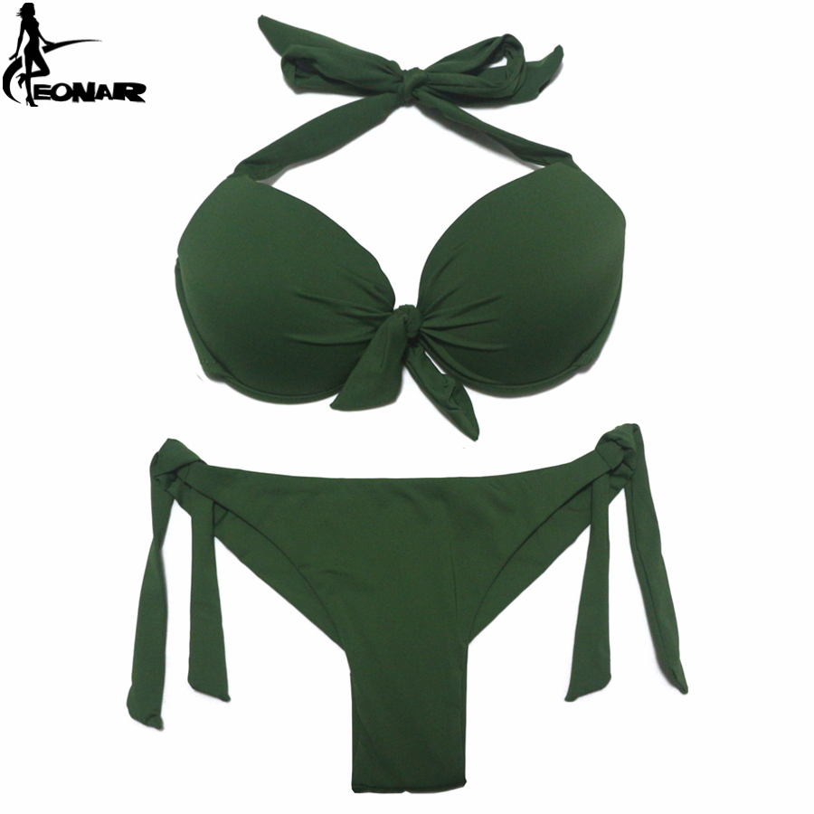 Image 2 - EONAR 2020 Bikini Solid Swimsuits Women Push Up Bikini Set Brazilian Cut/Classic Bottom Bathing Suits Sexy Plus Size SwimwearBikini Set   -