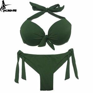 Image 2 - EONAR 2020 Bikini katı mayo kadınlar Push Up Bikini seti brezilyalı kesim/klasik alt mayo seksi artı boyutu mayo