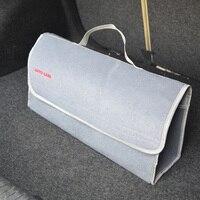 Large Car Smart Tool Bag Grey Trunk Storage Organizer Bag Toys Food Stowing Tidying Interior Accessories