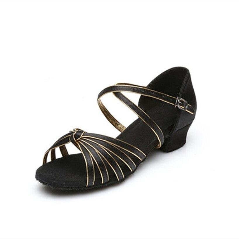 8c8453ea6b Ouro preto de Salto Baixo Sapatos De Dança Latina Mulher Meninas Salsa  Sapatos de Dança de Salão Latino Mujer Zapatos De Baile Frete Grátis