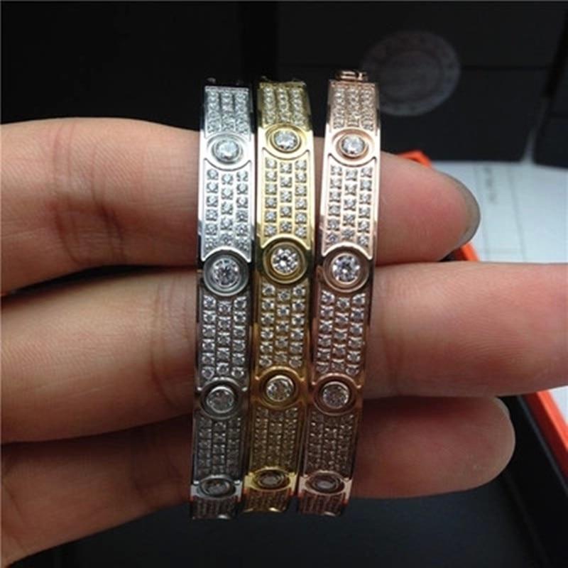 High quality love Bracelet Bangles 316L Titanium steel Luxury full with cz stone bracelet puleiras love bangle for women men