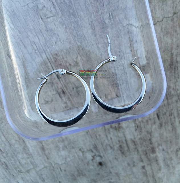 Stainless steel flat wire 2mm punk big large earrings Outer diameter ...