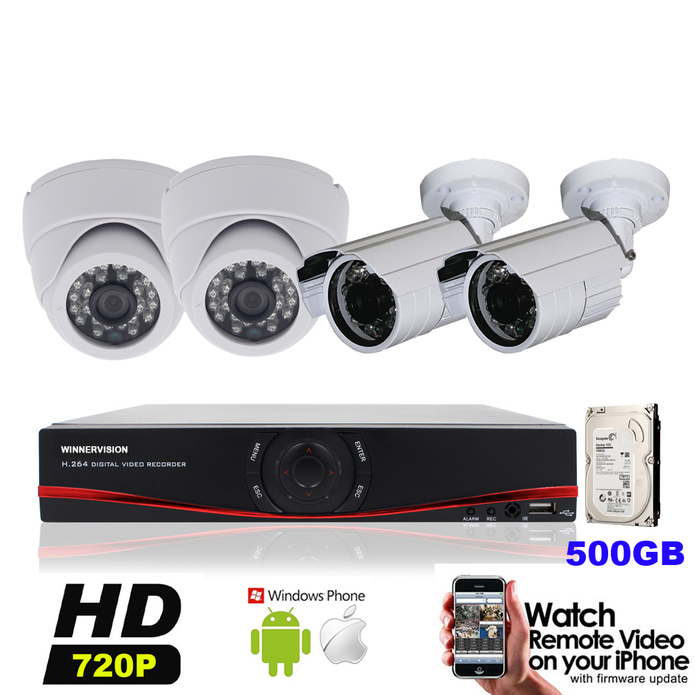 4PCS HD 720P 1MP 1200TVL Outdoor Indoor Security CCTV AHD Cameras DVR Video Standalone System Kits 4CH p2p Built 500G HDD
