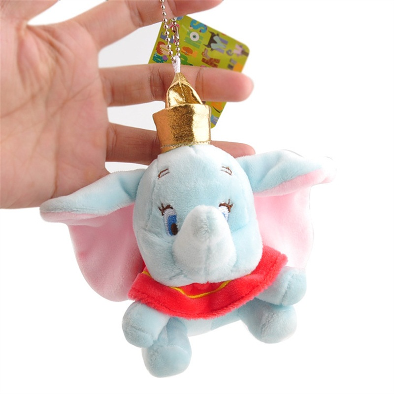 10cm Super Cute Dumbo Stuffed Animal Plush Toy Small Pendant Lovely Mini Cartoon Elephant Doll Presents For Children Key Chain