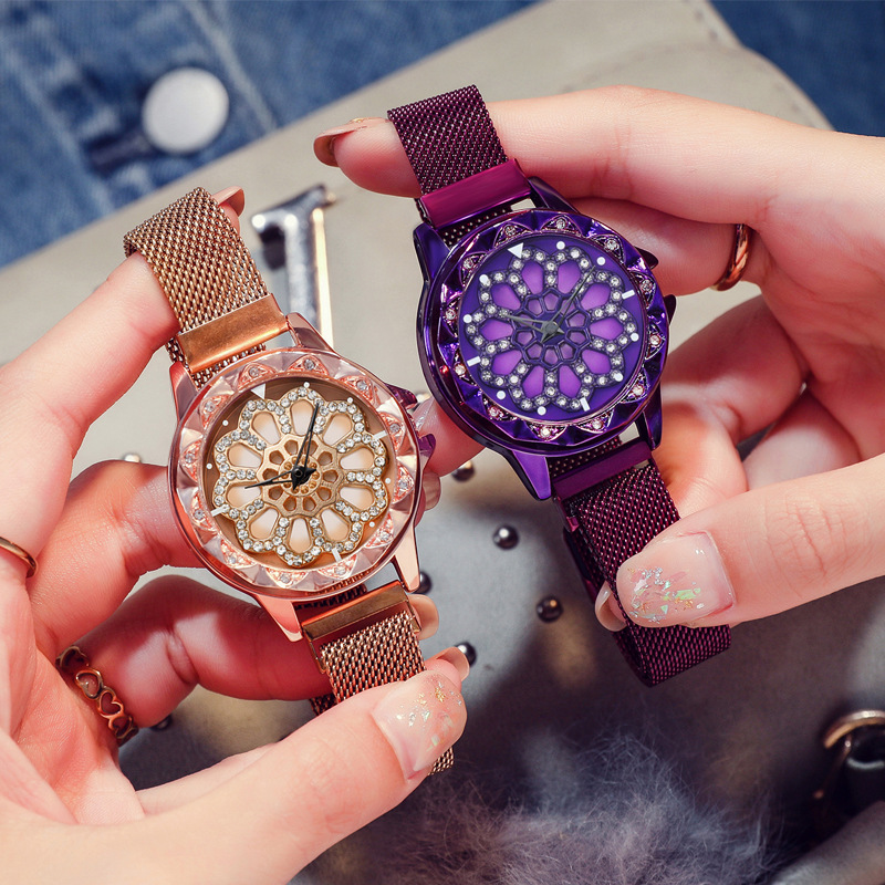 2019 Women Lucky Watch Luxury Diamond Flower Rotating Dial Watch Fashion Ladies Crystal Quartz Magnetic Wristwatches Reloj Mujer