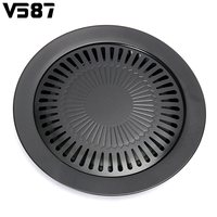 Round Nonstick Iron BBQ Pan Roasted Chicken Barbecue Plate Pans Tray Holder Home Kitchen Outdoor Camping
