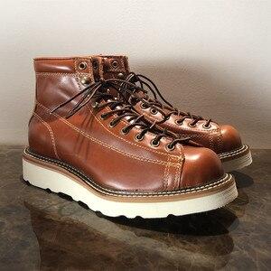Мужские повседневные ботинки Goodyear, винтажные мотоциклетные ботинки из натуральной кожи с закругленным носком, на весну и зиму, 2019
