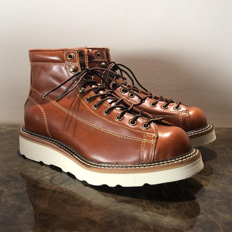 Ayakk.'ten Motosiklet çizmeleri'de Erkekler Bahar Kış rahat ayakkabılar Yuvarlak Ayak Hakiki Deri iş çizmeleri Goodyear Kaynaklı Vintage Askeri 2019 Yeni'da  Grup 1