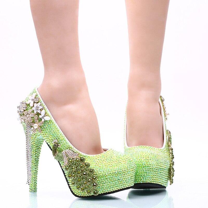 2017 Que Chispea Verde AB Color Crystal Vestido de Novia Zapatos de ...
