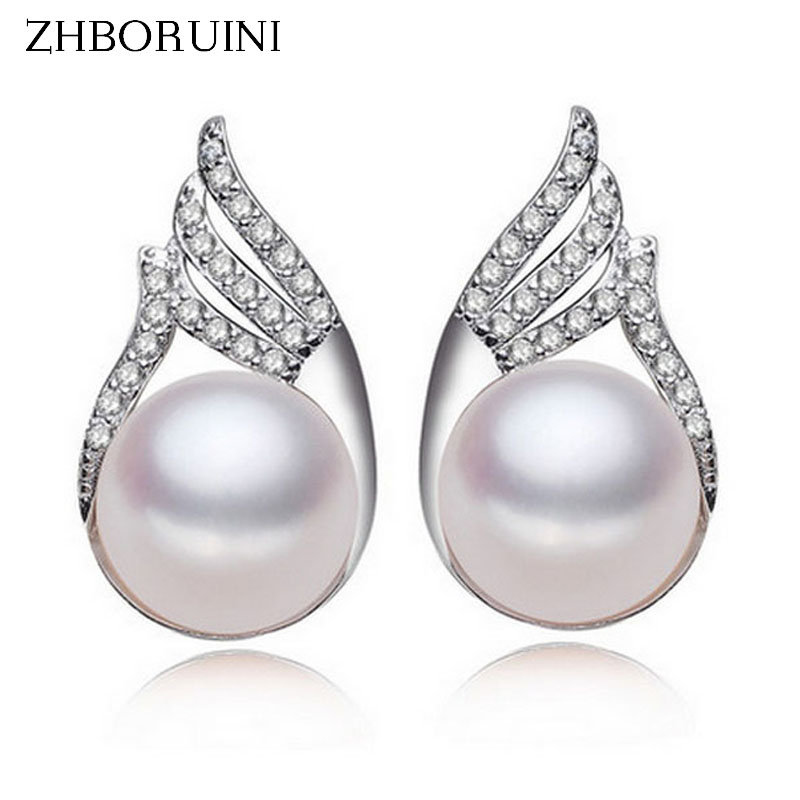 ZHBORUINI 2019 Fashion Pearl Earrings For Women Feather Natural Freshwater Pearl Princess Style 925 Silver Earrings Jewelry