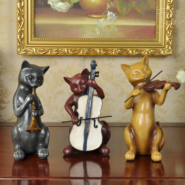 3pcs lot music cat figurines crafts vintage home decor country resin ...
