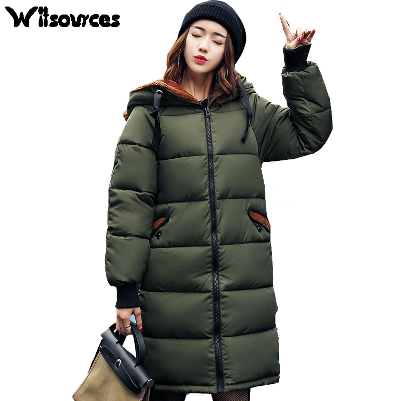 Witsources women Winter parkas cute hood plus size  oversize cotton padded casual jacket outwear coats SP133