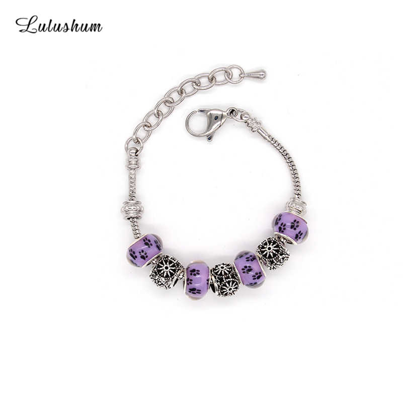 902a3c3e0 SANYU Fit Pandora 2018 New Fashionable Ladies Chain Bracelet Copper  Material Lobster Buckle Purple Glaze Beads