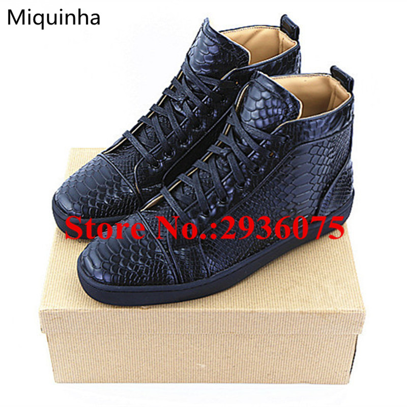 Black Embossed Python Leather High Top Lace Up Flat Casual Men Shoes Cool Trainers Zapatillas Deportivas Hombre Mens Dress Shoes autumn leather mens outdoor men canvas shoes mens casual shoes lace up mens men trainers zapatillas zapatos hombre