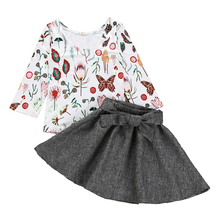 цена на Toddler Kid Baby Girls Clothes Floral Long Sleeve T shirt Tops Solid Tutu Mini Skirt 2pcs Outfits Set 2019