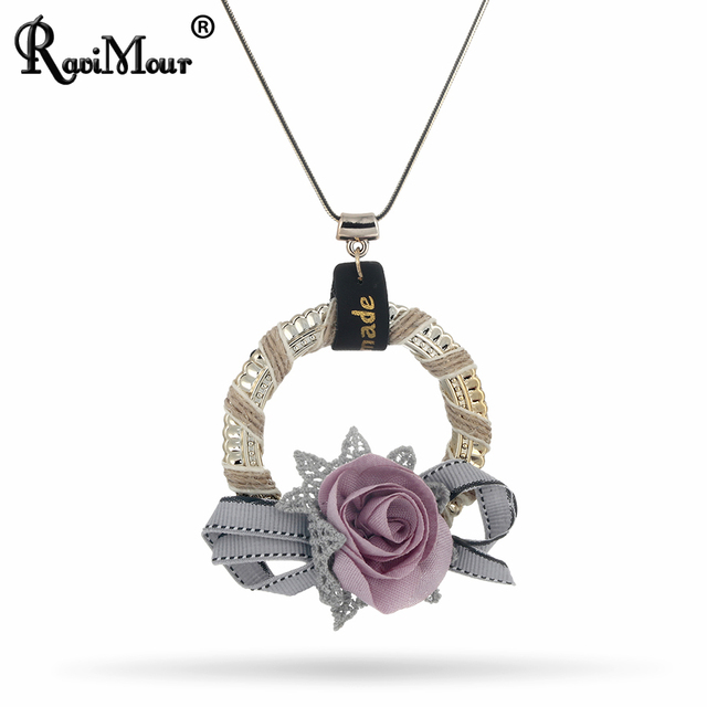 RAVIMOUR Boho Chocker Handmade Hemp Rope Flower Statement Necklaces & Pendants for Women Fashion Jewelry Black Chain Long Collar