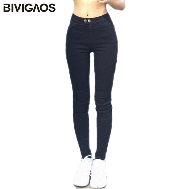 Bivigaos Baru Wanita Fashion Magic Celana Legging Kurus Langsing Peregangan Legging Hitam Dua Tombol Pensil Celana Wanita Celana Aliexpress