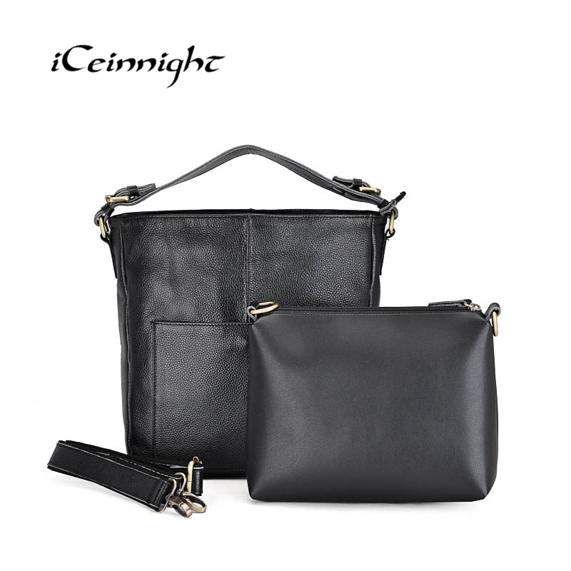 iCeinnight Genuine Leather Bags New Design Handbag Women Famous Brand Messenger Bags High Quality Travel Shoulder Bag For Female