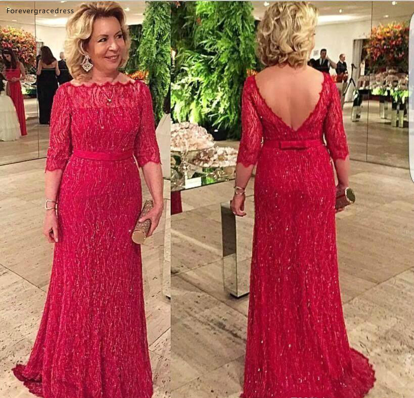 Elegant Mother of the Bride Dresses Vintage Mermaid Backless Formal Groom Godmother Evening Wedding Party Guests Gowns Plus Size