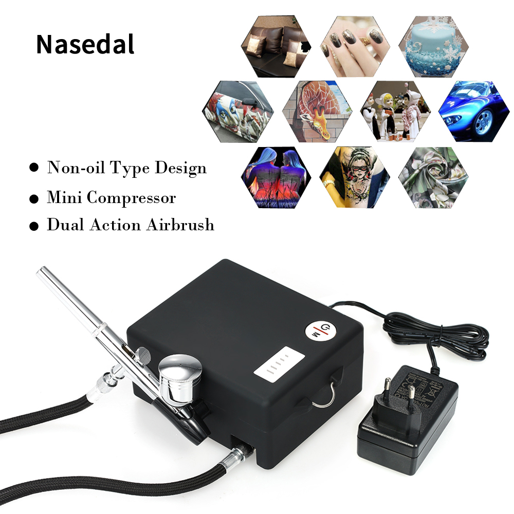 Nasedal NT-03 Airbrush Gun Air Compressor Kit Gravity Feed Dual Action Spray Gun Air Brush Tools Set For paint craft TattoosNasedal NT-03 Airbrush Gun Air Compressor Kit Gravity Feed Dual Action Spray Gun Air Brush Tools Set For paint craft Tattoos