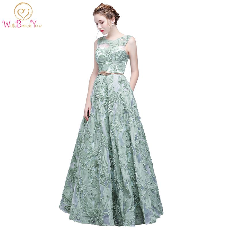 Walk Beside You Mint Green   Evening     Dress   Lace Sleeveless Floor-length Prom Party Formal Gown with Poackets vestido fiesta largo