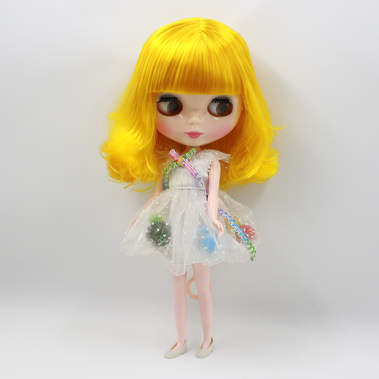 Fashion dolls in Doll blyth Yellow short hair with bangs Nude Blyth doll diy toys baby blyth dolls for sale nude doll bonecos blyth doll diy short yellow curly hair suitable for change diy doll toys baby dolls for girl gifts