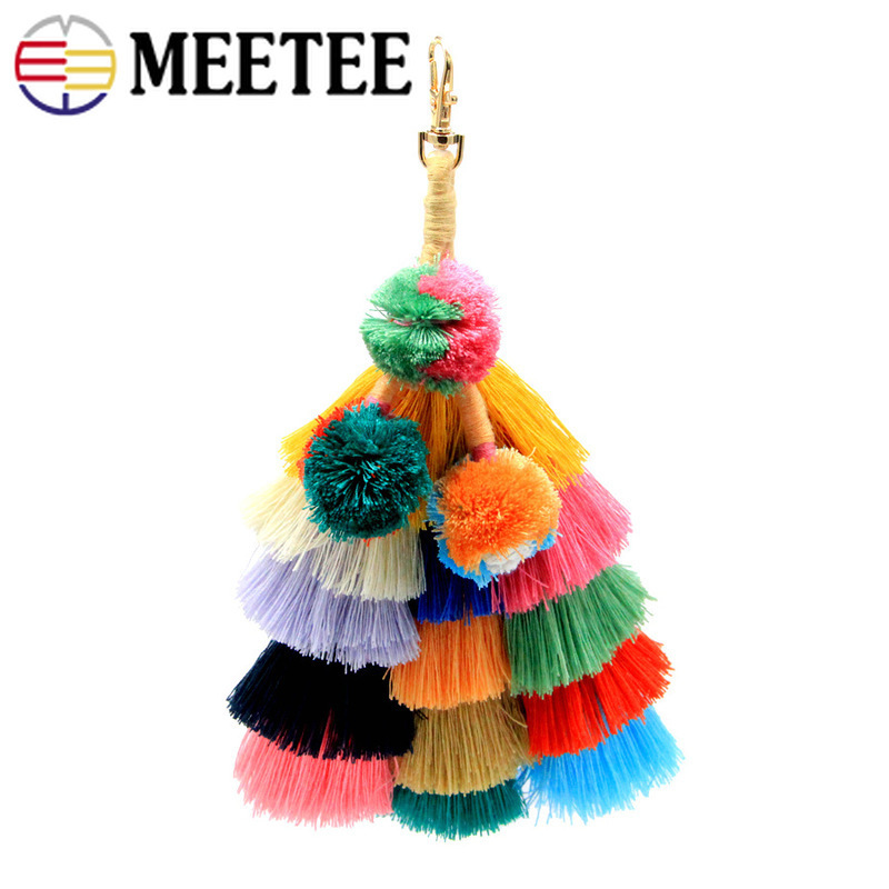 Meetee 24cm Fringe Pendant Bohemian Handmade Cotton Tassels Bag Keychain Buckles Pendant Pompom Bag Tassel Key Ring Decoration