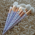 10 pcs Colorful Handle Unicorn Makeup Brushes Thread Rainbow full Make Up Brushes set Blending Powder foundation contour Brush.